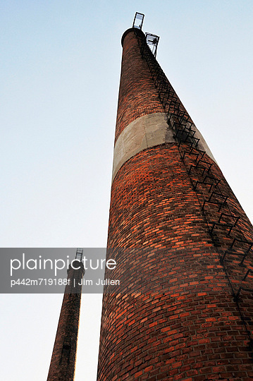Low angle view of a tall brick tower; beijing china