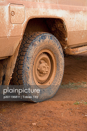 Muddy tire on a truck