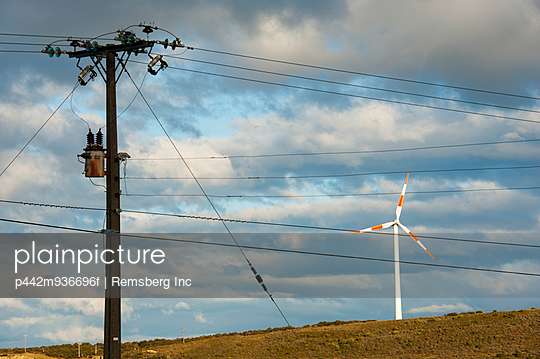 Wind energy and electricity lines; El Calafate, Magallanes, Argentina