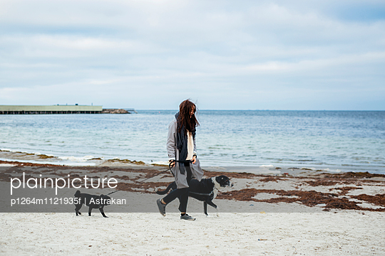 Woman walking with dogs on beach