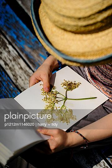 Mädchen bastelt in ihrem Heft - p1212m1146020 von harry + lidy