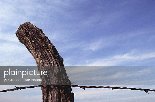 Barbed Wire Fence Post & Sky