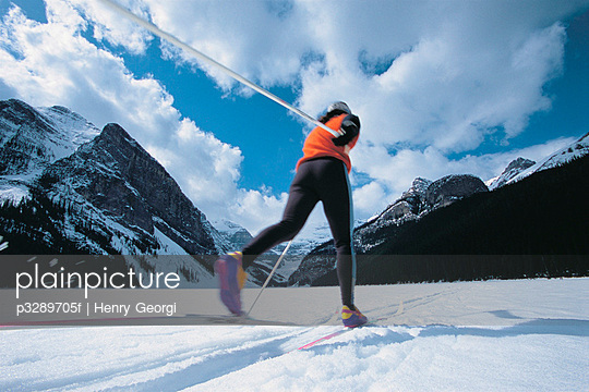 Cross-country skiing, Banff National Park, Alberta