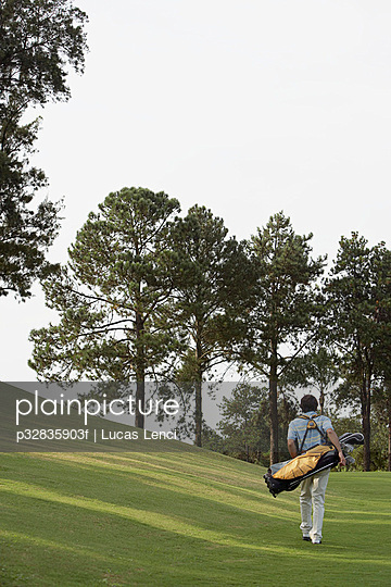 Man walking on golf course