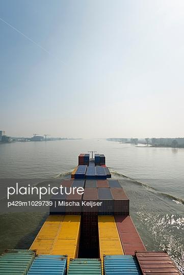 Cargo ship on River Waal, Gorinchem, South Holland, Netherlands