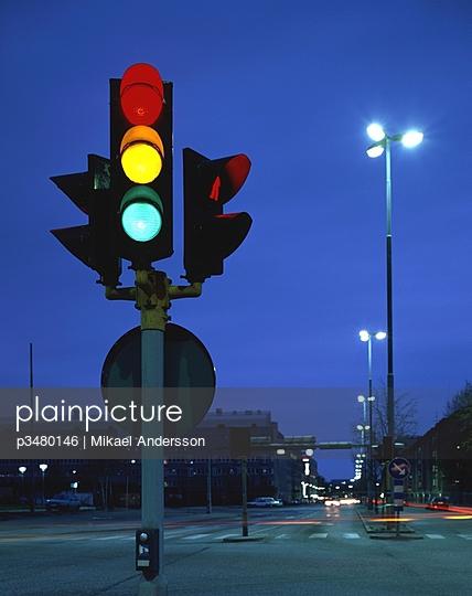 Traffic lights at dusk