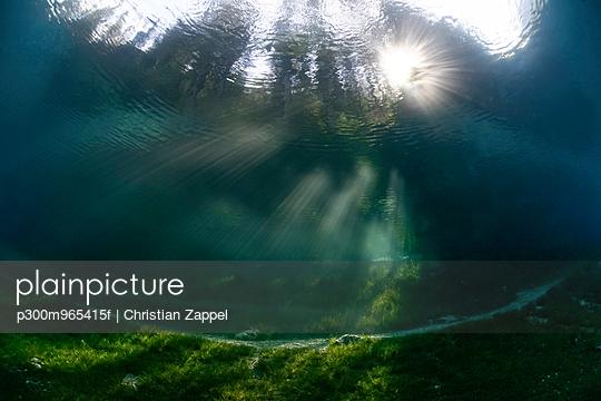 Austria, Styria, Tragoess, Upward view under water at the Green Lake