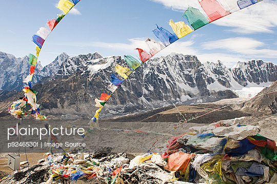 Prayer flags and mount everest