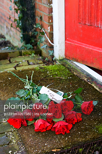 Red roses on doorstep