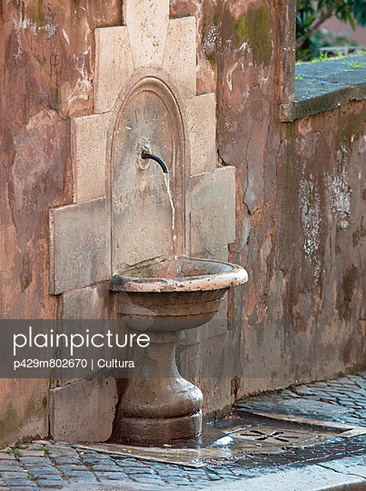 Public Water Fountain at Campidoglio, Rome, Italy.