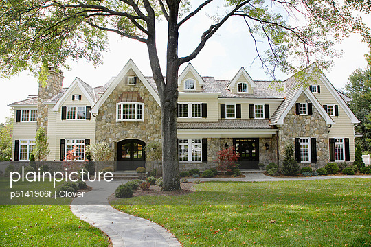 House and front yard, Chatham, New Jersey, USA