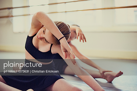 Girls practicing ballet at dance studio