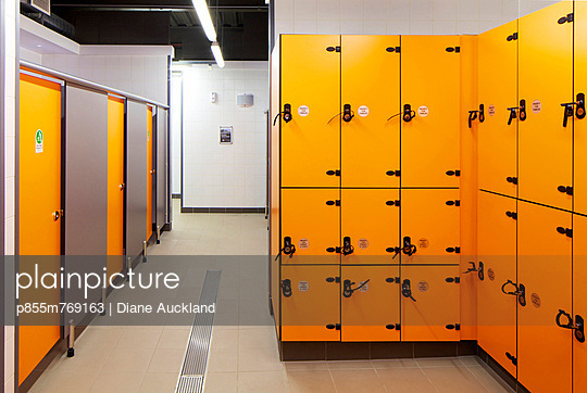 Changing rooms in the Central Leisure Centre, Rochdale, Greater Manchester, UK
