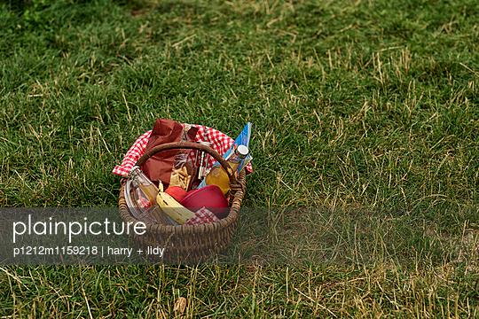 Picknickkorb auf der Wiese - p1212m1159218 von harry + lidy