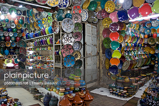 Ceramic shop in the souk of Marrakech
