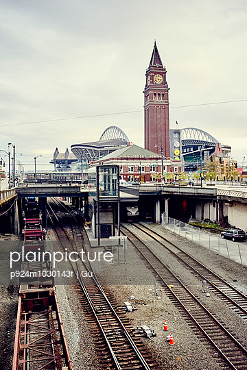 View of King street railway station and Centurylink Field stadium, Seattle, Washington State, USA