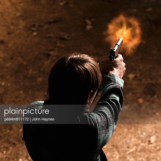 man, shooting, gun,