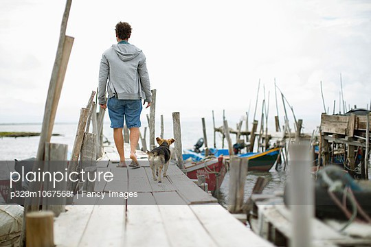 Back view of man with dog walking on pier