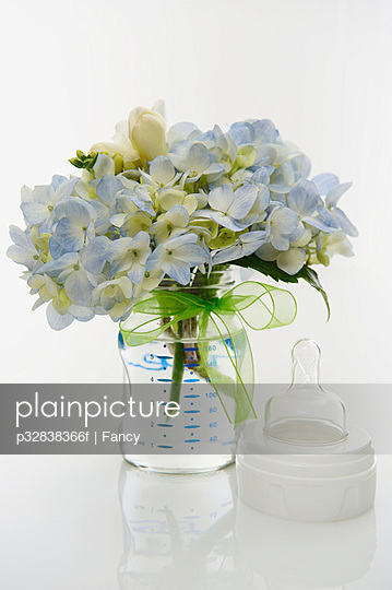 Hydrangea in Baby Bottle