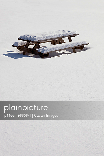 Picnic Bench covered in snow