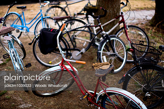 A quiver of cruiser bikes outside a neighborhood house in Sandpoint, Idaho.