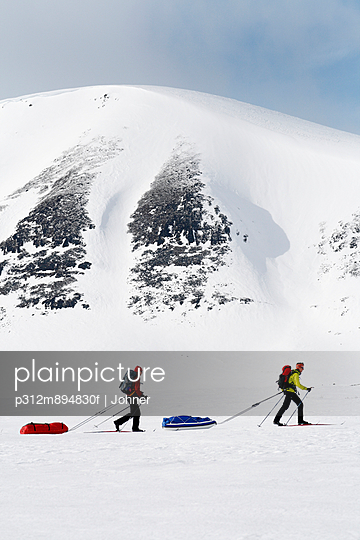 People skiing, Sarek national park, Lapland, Sweden