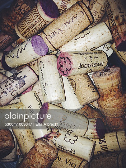 Bunch of corks from red wine bottles