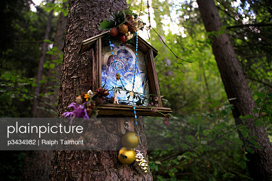 A decorated Catholic shrine dedicated to the Holy Family hangs on a pine tree outside the Polish town of Zakopane