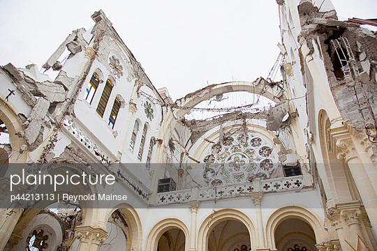 the catholic cathedral of our lady of the assumption badly damaged after the earthquake; port-au-prince, haiti