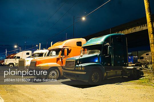 Parked trucks at night, Seattle, USA