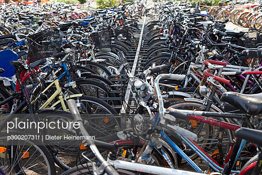 Row of bicycles at parking area