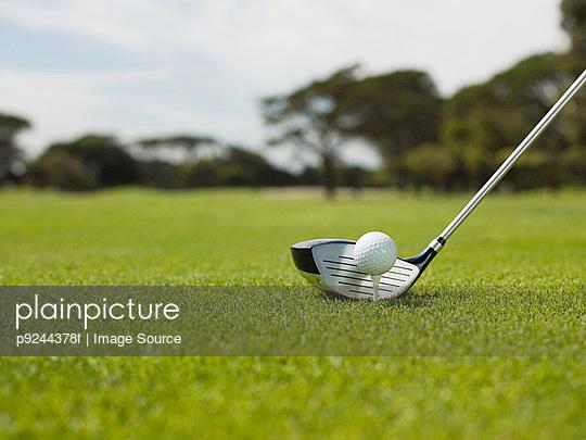 Golf ball on golf course, close up