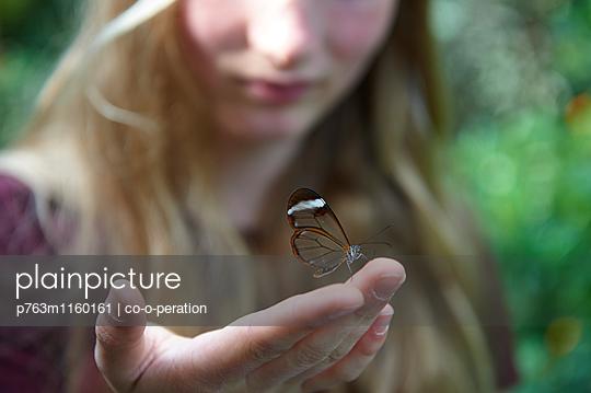 Mädchen mit Schmetterling auf der Hand - p763m1160161 von co-o-peration