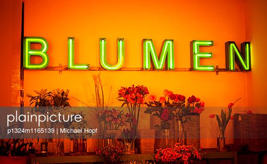 Neonreklame im Blumengeschäft - p1324m1165139 von michaelhopf