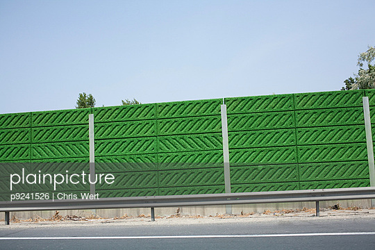 Green wall by road