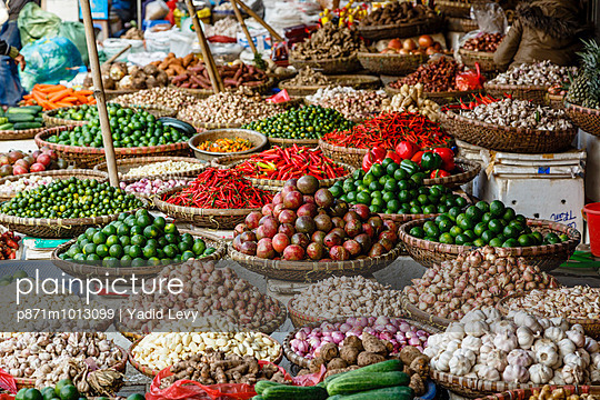Fruits and vegetables stall at a market in the old quarter, Hanoi, Vietnam, Indochina, Southeast Asia, Asia