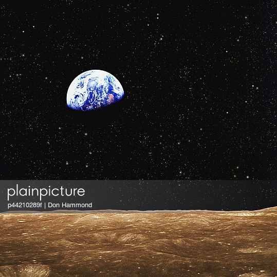 View Of Earth From The Moon\'s Surface