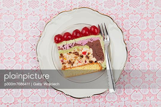 Plate of ice cream cake