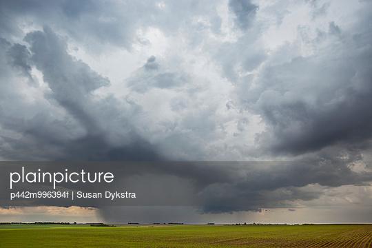 Storm clouds at sunset, near Winnipeg; Manitoba, Canada