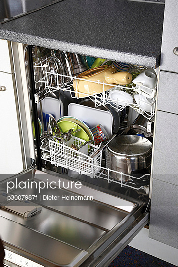 Cleaned dishes in open dishwasher,