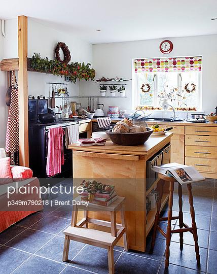 Fresh bread on kitchen island in Christmas kitchen
