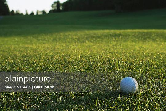 Golf Ball On Organic Golf Course; Canada, Manitoba, Riding Mountain National Park