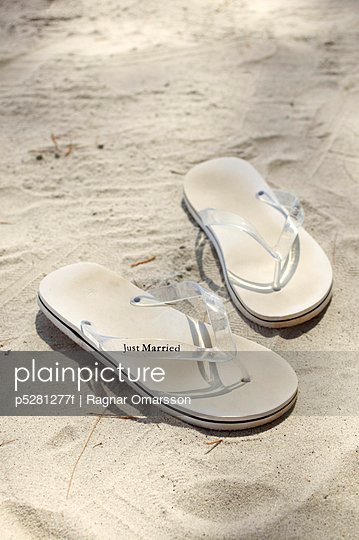 Sandals on white sand Malaysia