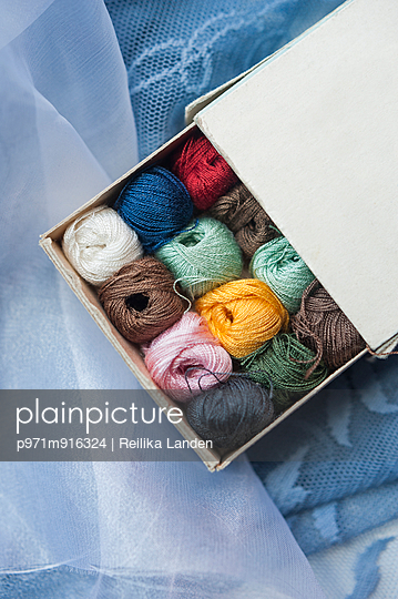 Balls of thread in a box