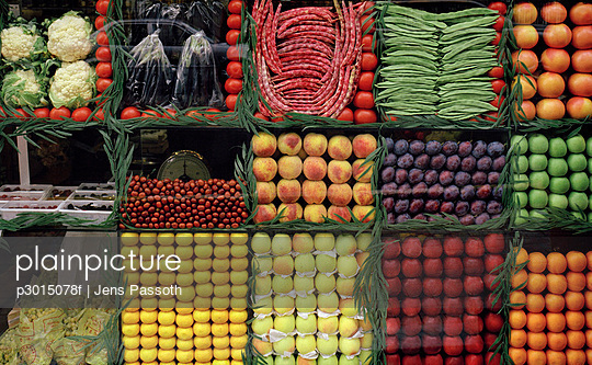 Fruit and vegetables arranged in shop window
