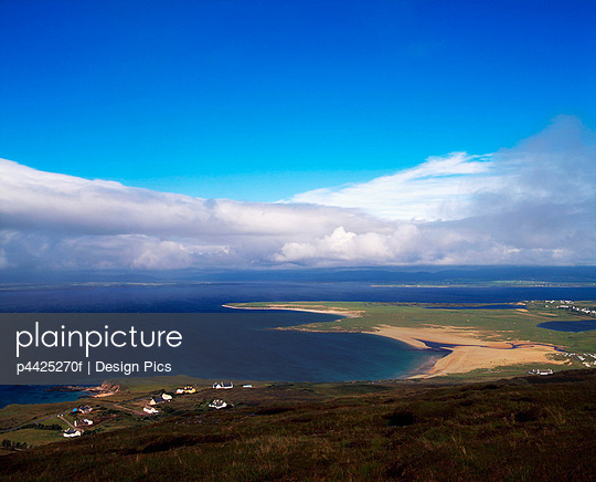 Achill Island, Co Mayo, Blacksod Bay & Ridge Point from above Doogort Village, Ireland