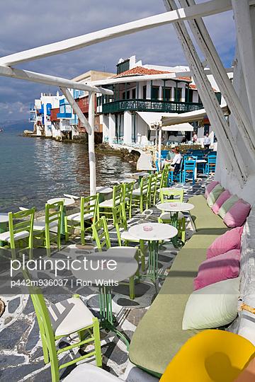 Restaurant Terrace On South Aegean Sea, Hora, Mykonos Island, Cyclades, Greece