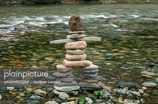 Inukshuk By River, Gaspesie, Quebec