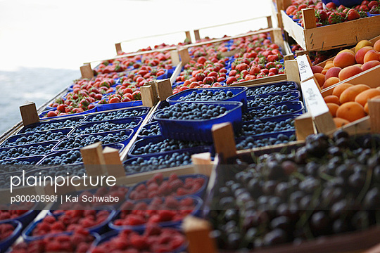 Variety of fruits in tray at market