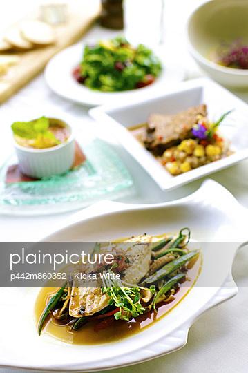 Five course tasting menu including appetizers, salad, main course